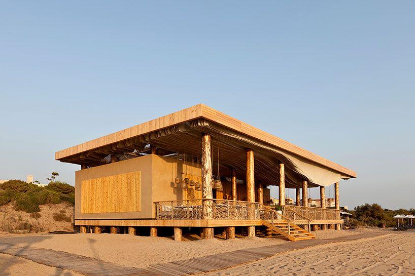 k-studio constructs timber beach-side barbouni restaurant