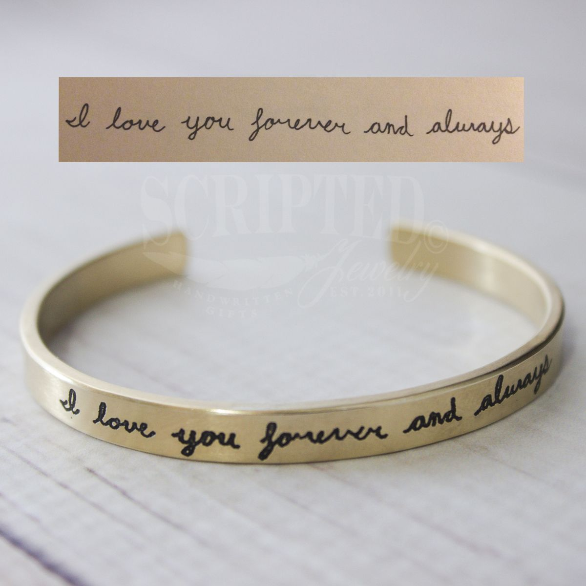 Your love notes on silver or goldplated cuffs handwriting