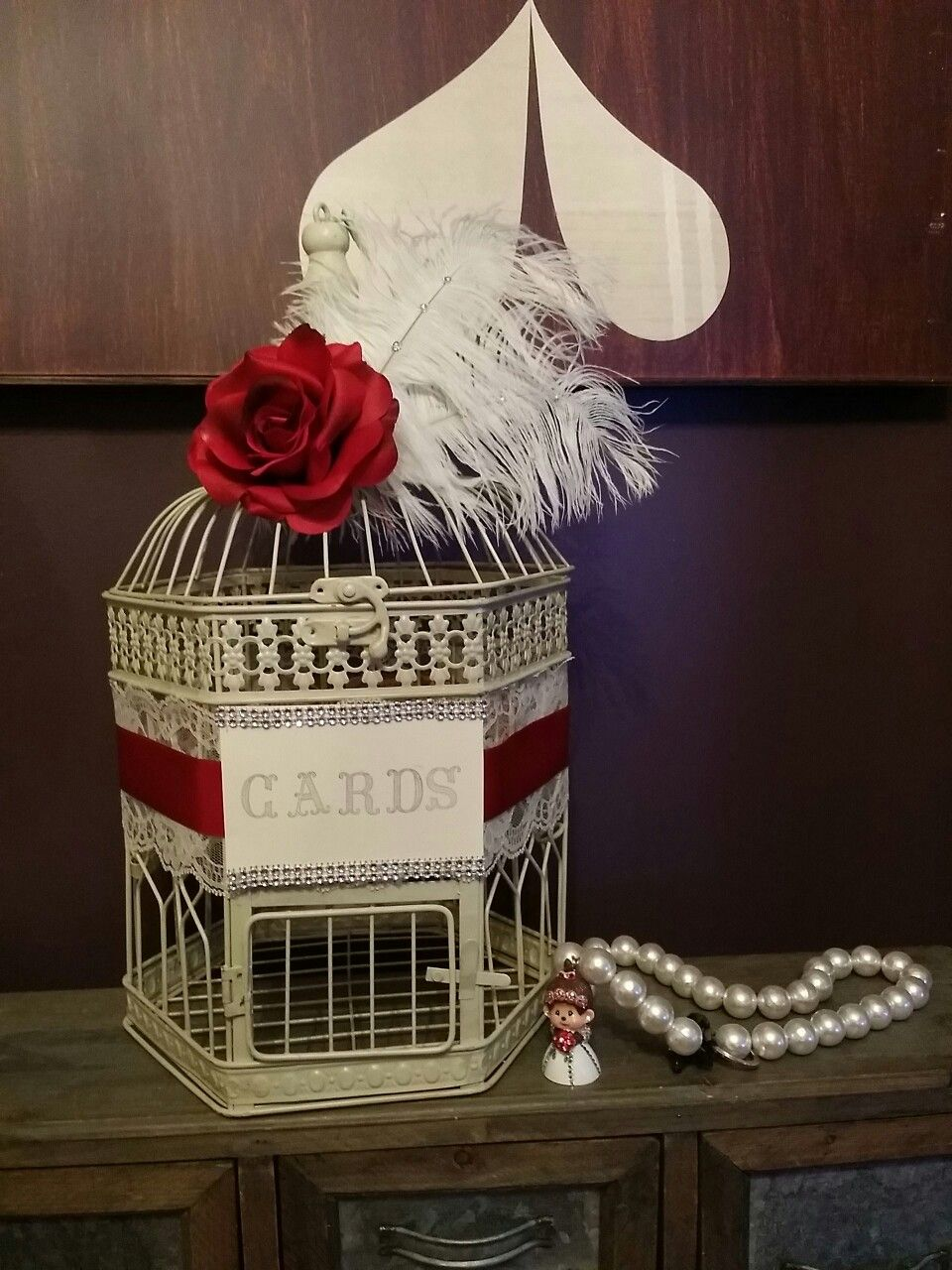 Rose wedding birdcage card holder