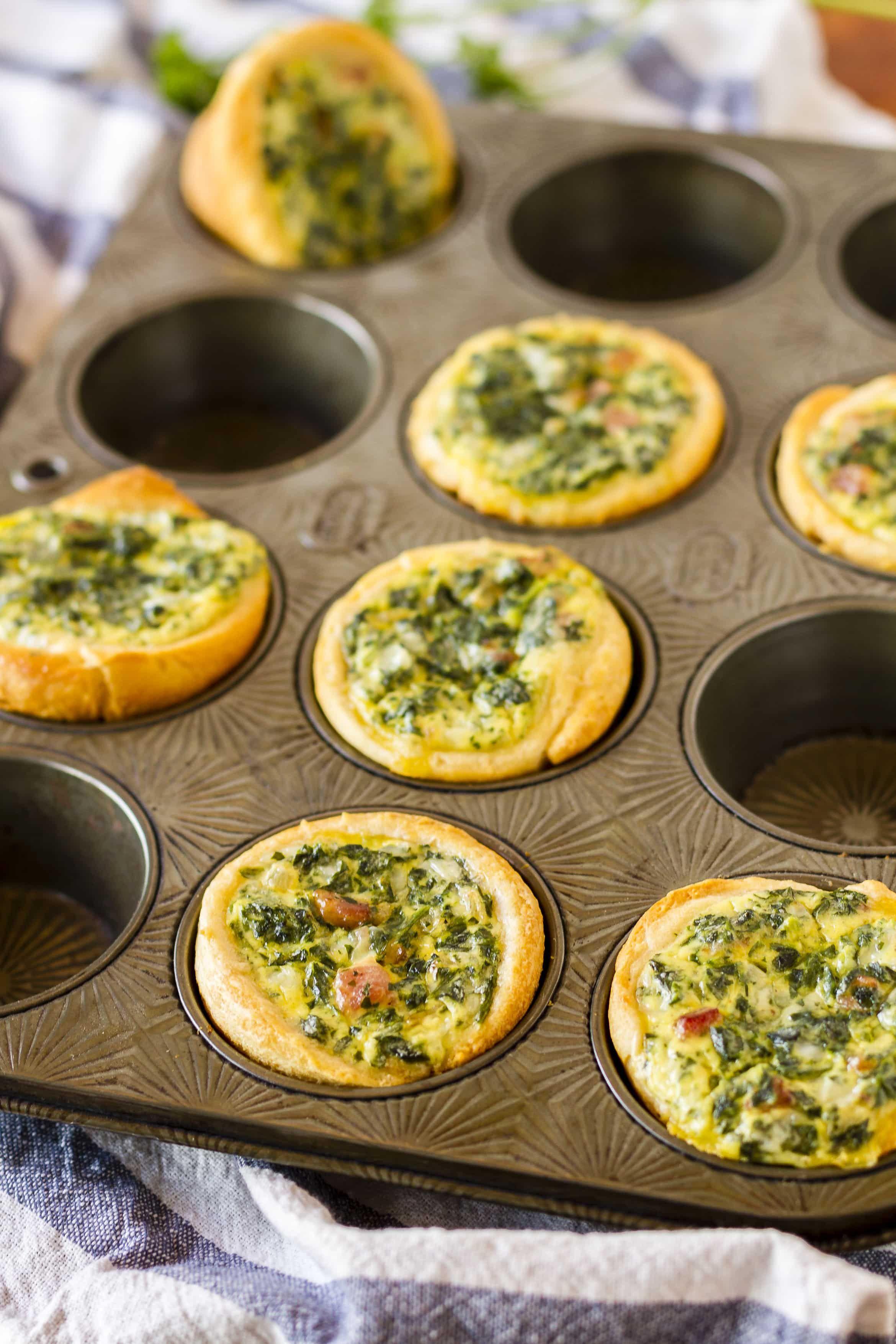 Mini Spinach Quiche Recipe For Brunch Or On The Go Unsophisticook Breakfast Quiche Recipes Quiche Recipes Easy Mini Spinach Quiche Recipe