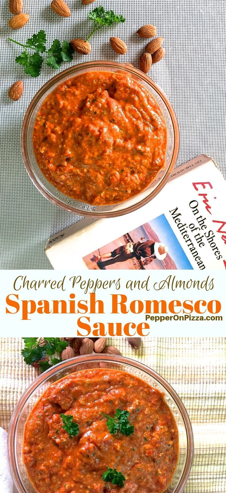 Spanish Romesco Sauce: Roasted Red Pepper and Almonds #spanishmeals