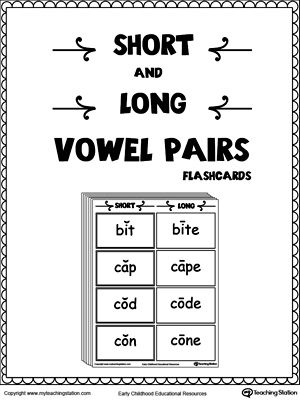 picture regarding Phonics Flashcards Printable titled Shorter and Prolonged Vowel Pairs Flashcards College: Literacy
