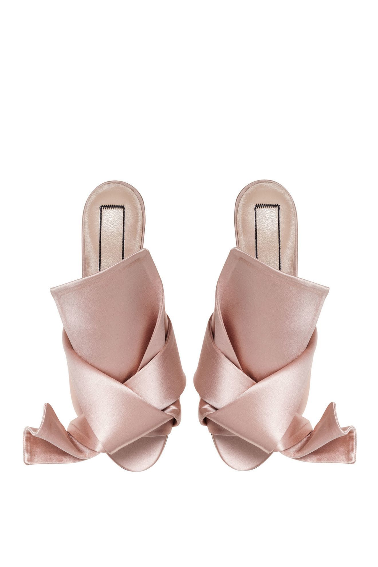 38ba179187 Light pink satin satin flat bow mules from Nº21 featuring a slip-on style,