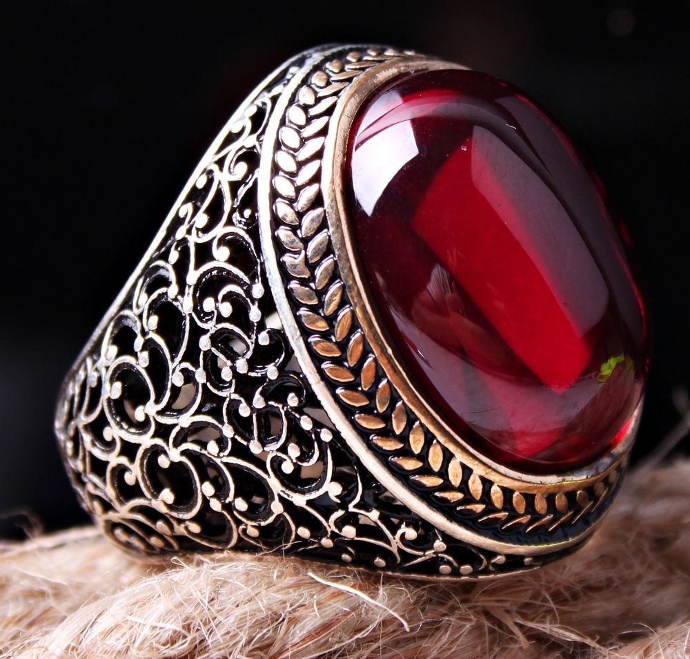 SPECIAL Turkish Ruby Red Stone 925 Sterling Silver Mens Mans Ring ALL SİZE US