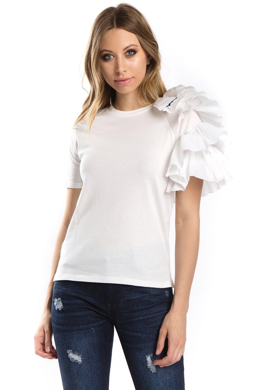 ea2a8ca2af0b2 Side Ruffle Sleeve T-Shirt 100% Cotton