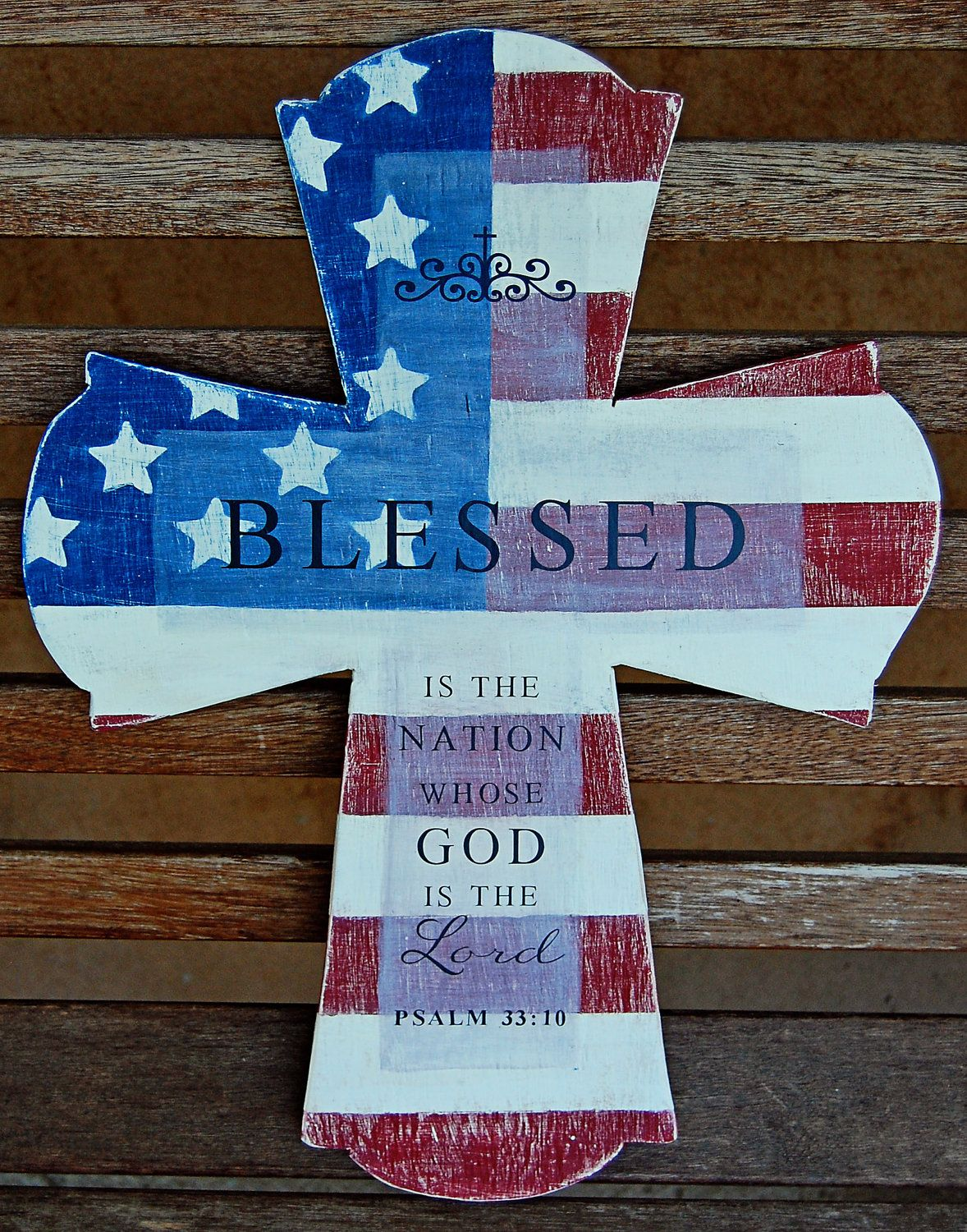 Blessed is the nation patriotic cross weathered wood wall art