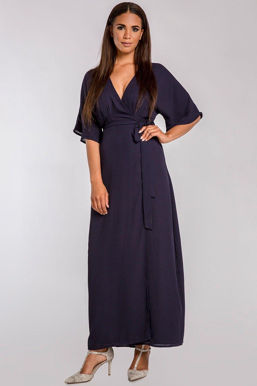 18e5327e505 Olivia Woven GGT Midnight Blue Kimono Wrap Maxi Dress