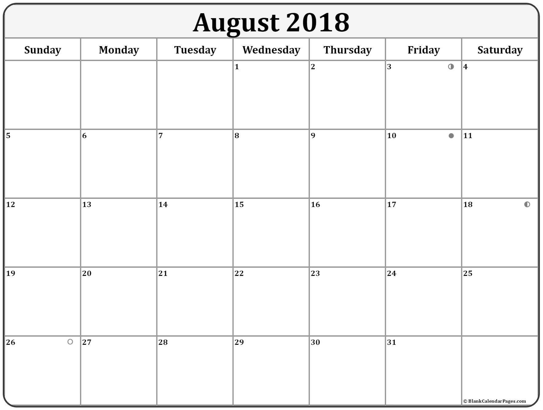 August Moon Phase Calendar