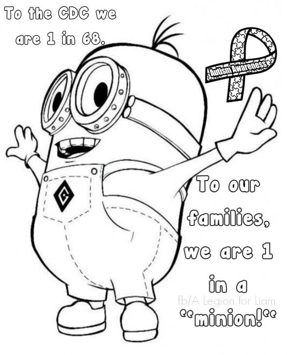 Minion Autism Coloring Page By A Legion For Liam Autism Awareness