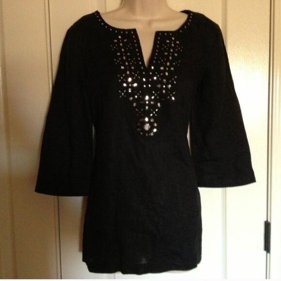 Michael Kors black embellished kaftan Black 3/4 sleeves.  100% linen. Tunic top. This is a beautiful top! I bought it on Poshmark and I have worn it a handful of times.  In excellent condition. I got many compliments.  Time to re-posh to another loving home! Michael Kors Tops Tunics