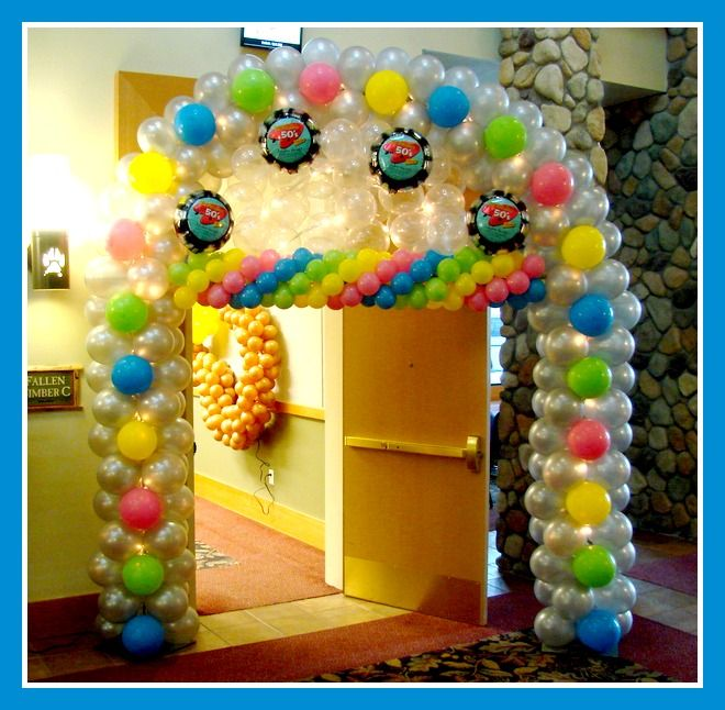 50's Party Arch a the Great Wolf Lodge Cincinnati! www.balloonworksinc.com