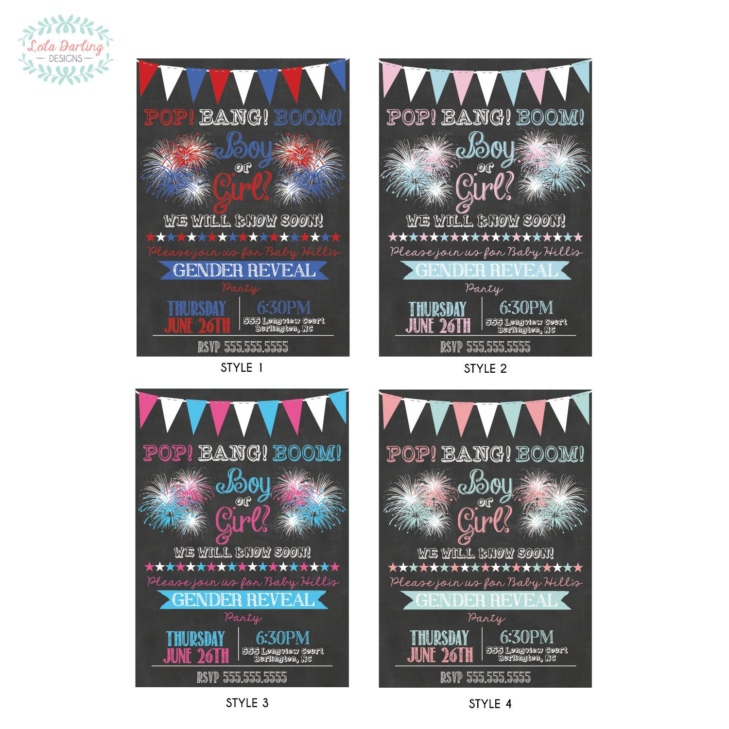 Fourth of July Fireworks Gender Reveal Party Invitation | baby ...