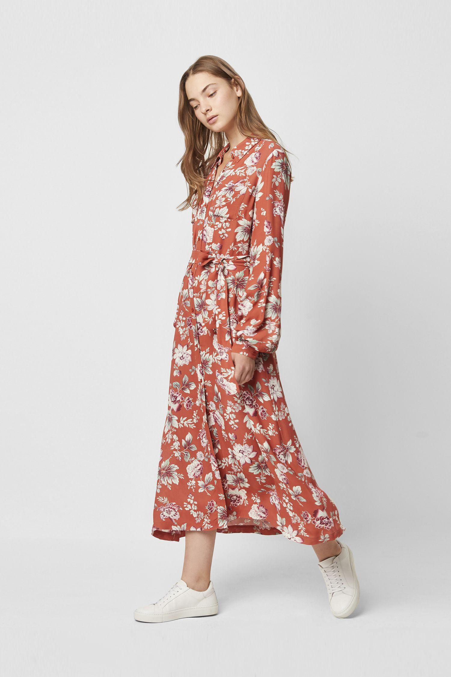 Aletta Crepe Floral Midi Shirt Dress in 2019 | Midi shirt