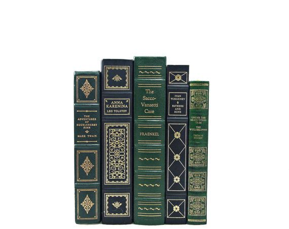 ORNATE Book Collection, Decorative Books,Green Gold Wedding Decor, Centerpiece, Instant Library, Home Decor Interior Design Decorating Color...