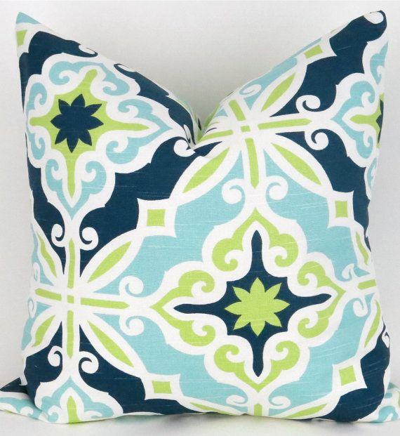 Blue  Green Pillow Cover MANY SIZES Navy Blue Lime