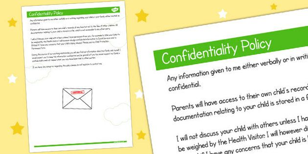 002 Childminder Confidentiality Policy child minder, rule
