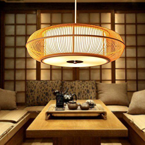 qwer lampe de plafond suspendu tatami japonais lustre lampe petit salon chambre restaurant bambou bambou chinois