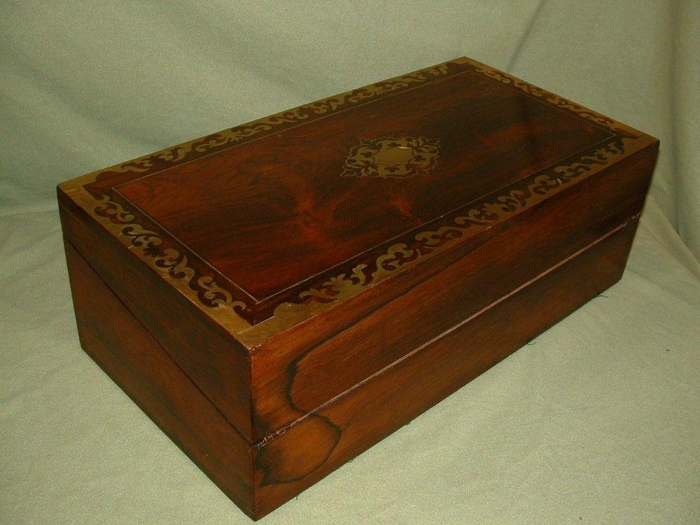 Large Regency Inlaid Rosewood Writing Box Secret Drawers C1835