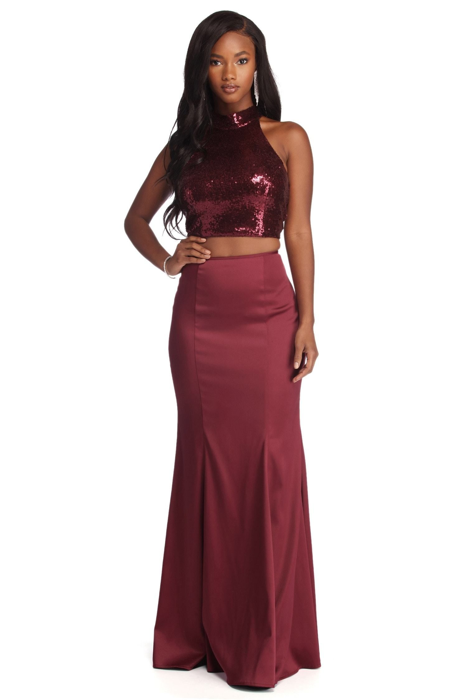Ophelia Formal Sequin Two Piece Dress Sequin Formal Dress Burgundy Prom Dress Piece Dress [ 2247 x 1500 Pixel ]