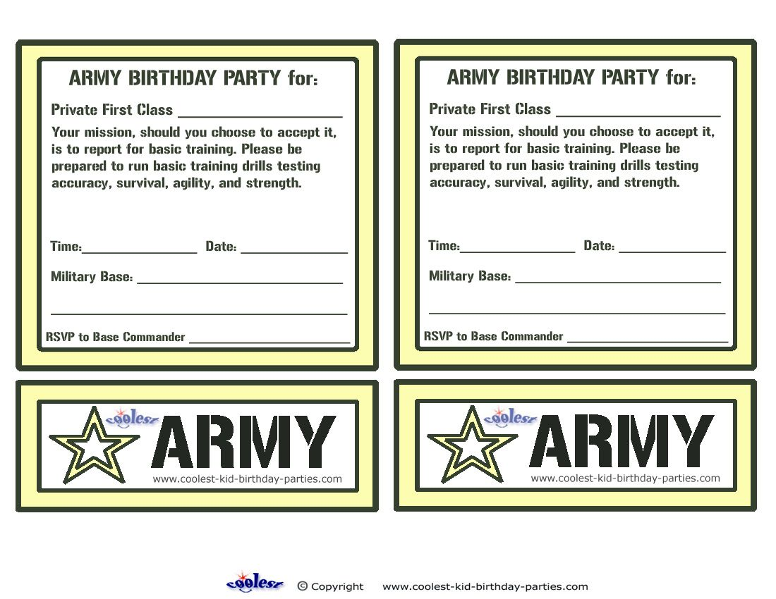 Printable Army Invitations - Coolest Free Printables | for Rhett ...