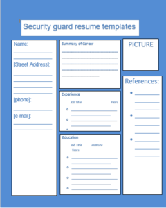 Security Guard Resume Template | Word, Excel & PDF Templates ...