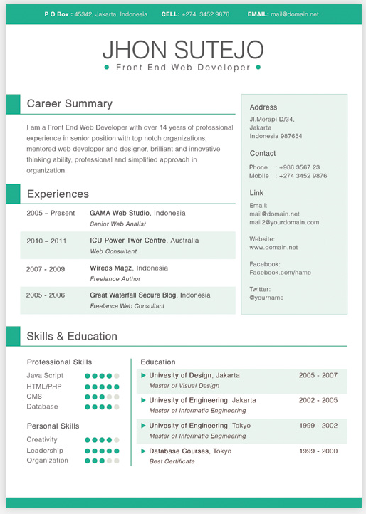 single page curriculum vitae template in 5 basic colors it