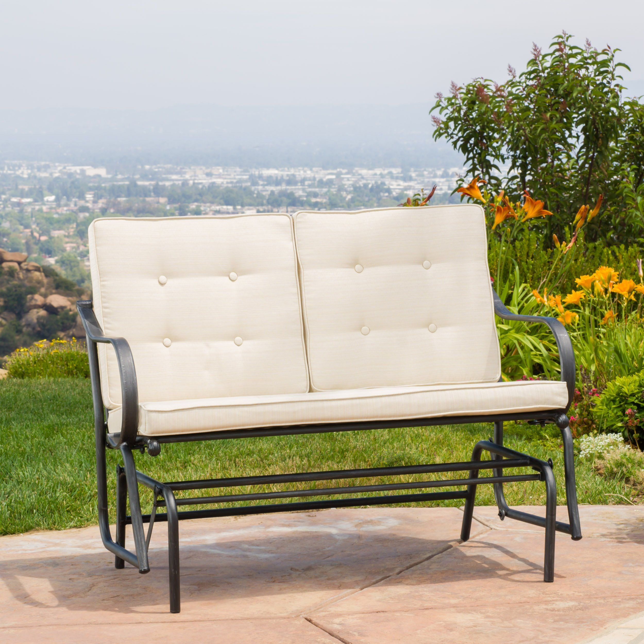 Outdoor Patio Metal Rocker Glider Bench With Beige Cushions