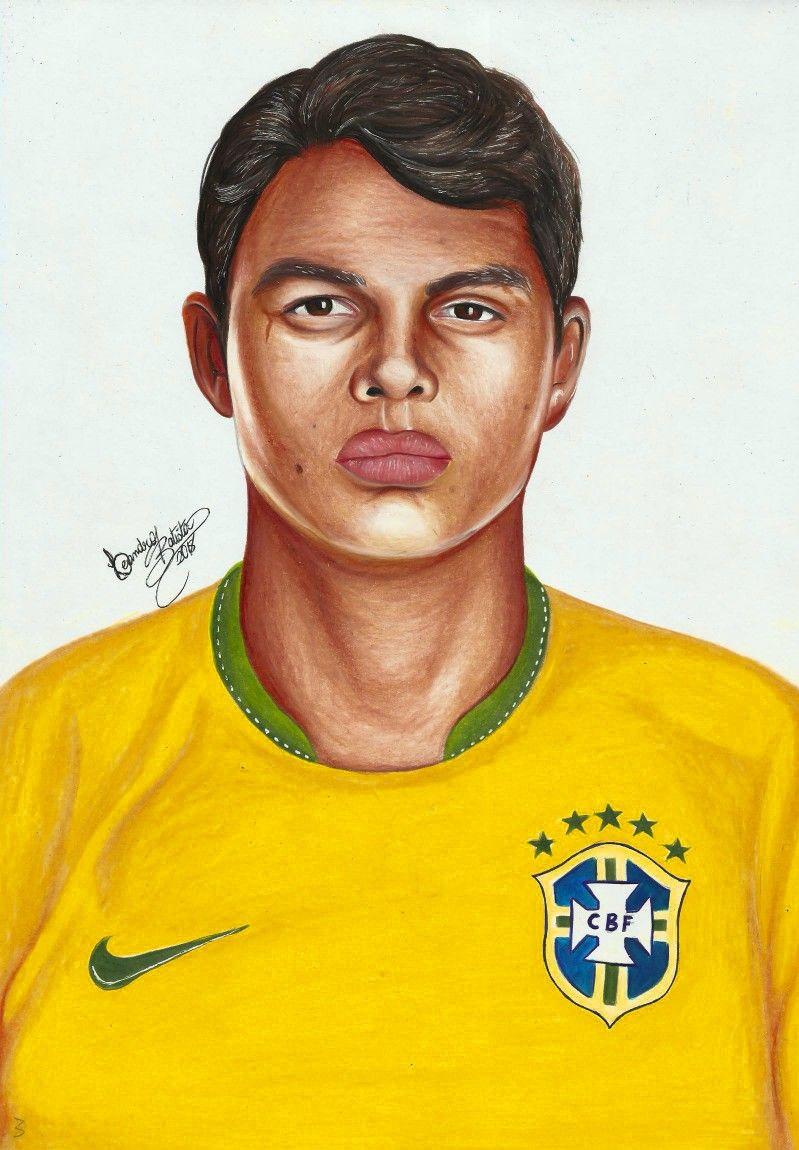 Desenho Realista Colorido Jogador Thiago Silva Seleção