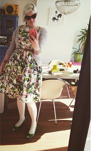 a740e1cdd4b6a  vemce  wearing the  emilyandfin cowboy print over the weekend. Available  online right now!  emilyandfin  regram  ootd  style  dresses  cowboys  SS15