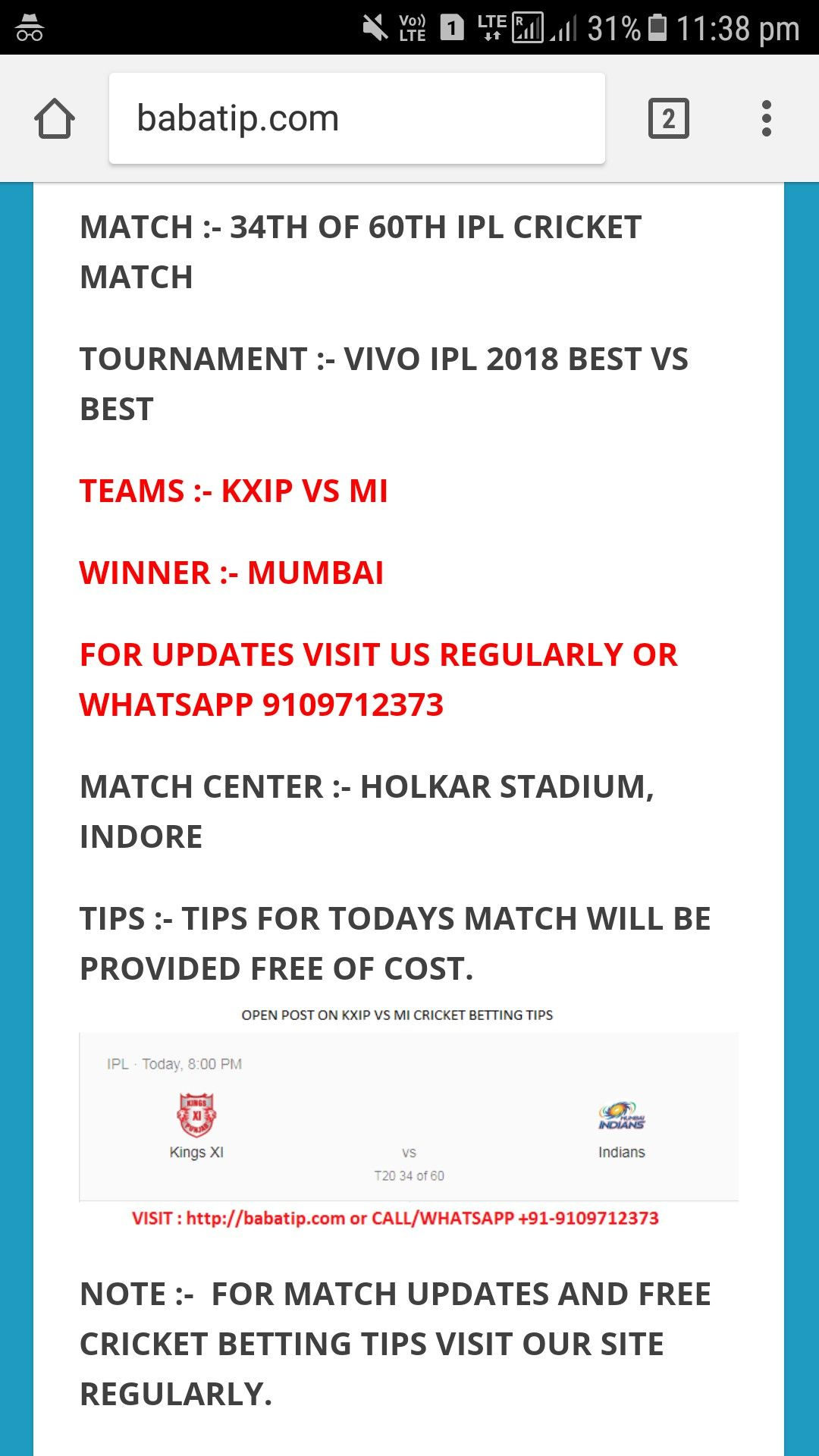 ipl betting tips page