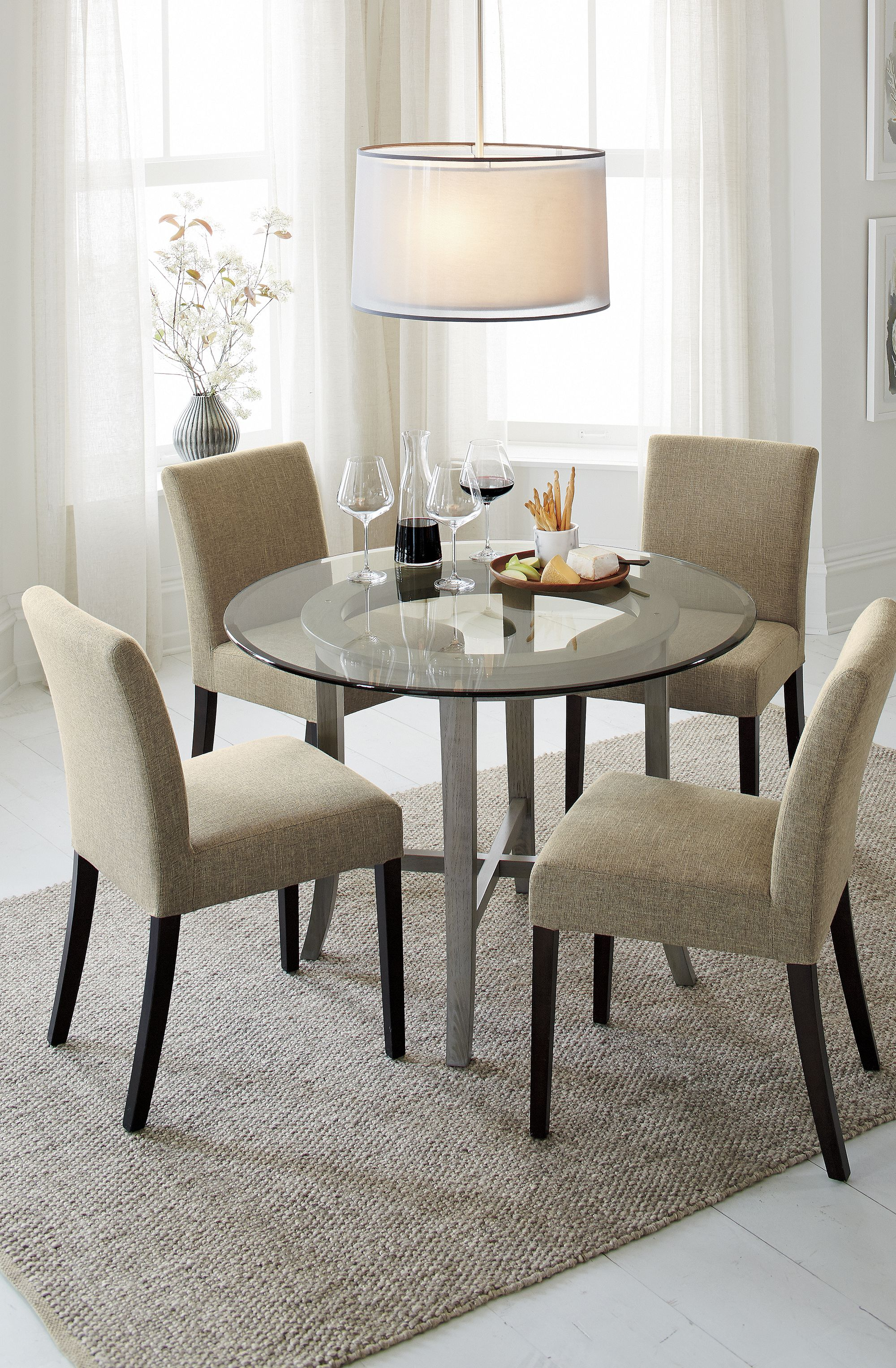 Halo Grey Round Dining Table With 42 Glass Top Grey Round