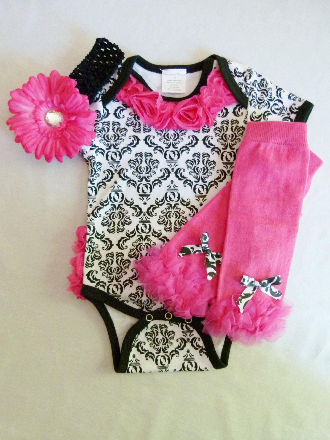 Baby Girl Gift Set Damask Hot Pink Onesie With Chiffon Rosette ...