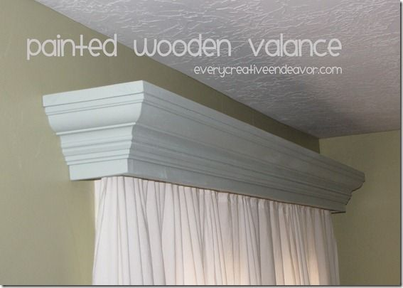 Painted Wooden Valance Using Crown Molding From Amanda