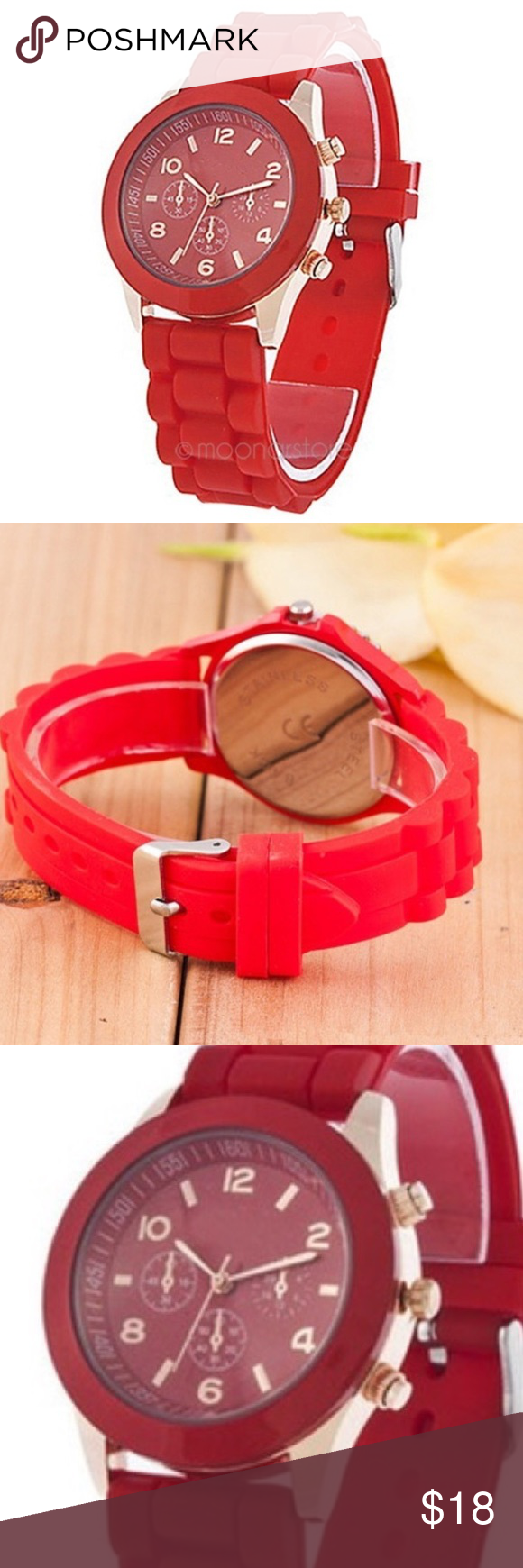 Women/Girls Geneva Silicone Jelly Sports Quartz Women/Girls Geneva Silicone Jelly Sports Quartz Wrist Watch.                                                            Movement: Quartz : Battery Display: Analog Style: Fashion Features: Easy To Read Watchband Material: Silicon Color: Red Shape of the dial: Round Geneva Accessories Watches