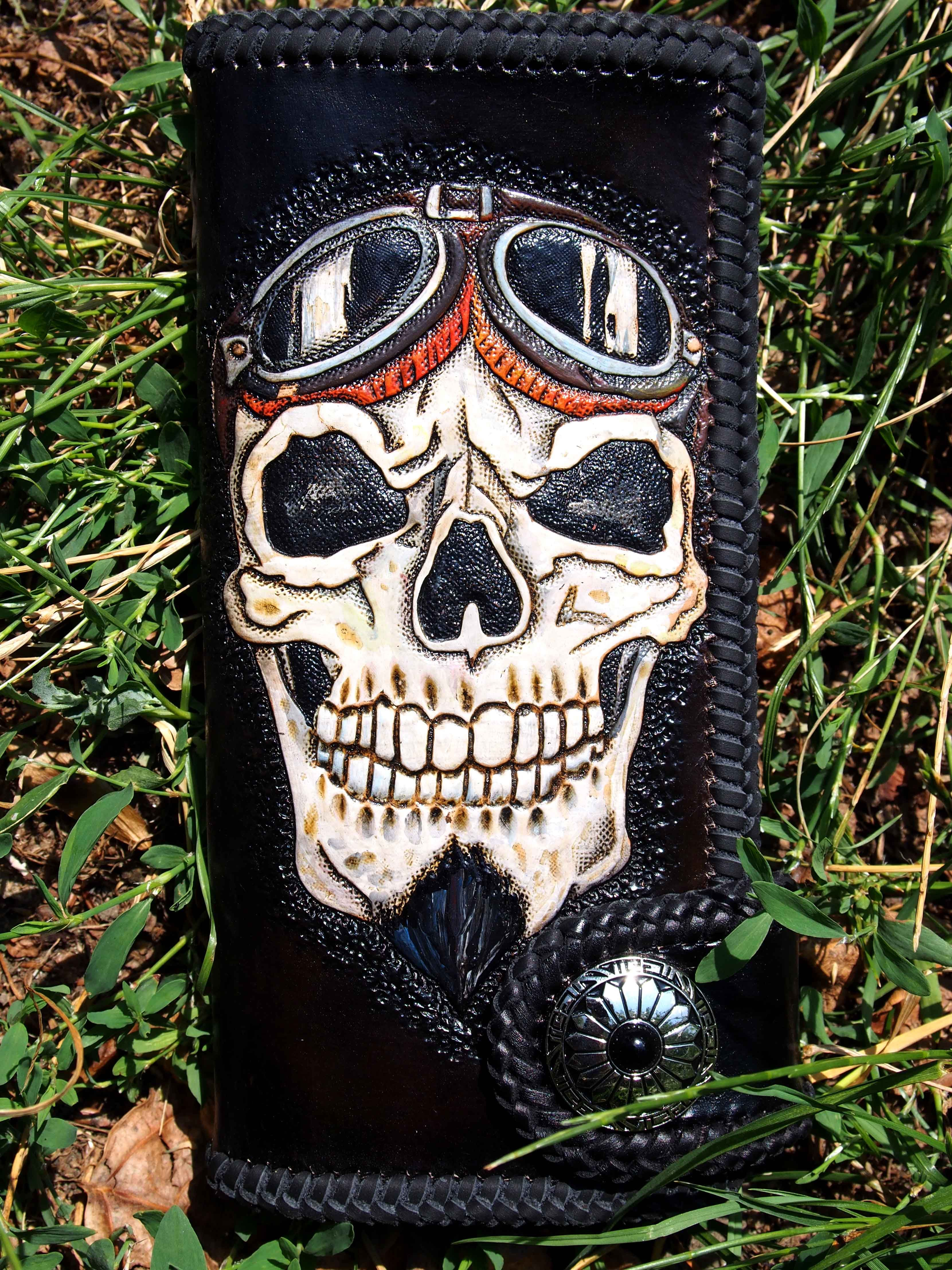 wing skull black men biker long wallet handmade genuine leather L19