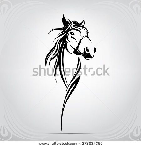vector silhouette of a horse's head - stock vector | tattoos