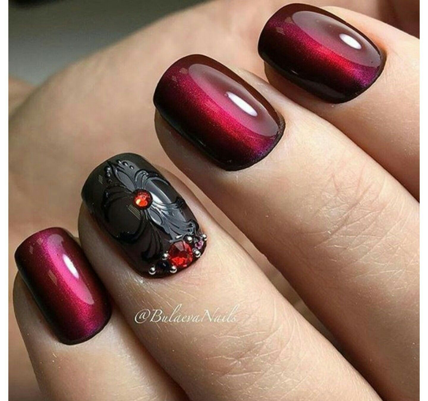 Pin by Cyndi on nails (With images) | Gem nails, Burgundy ...