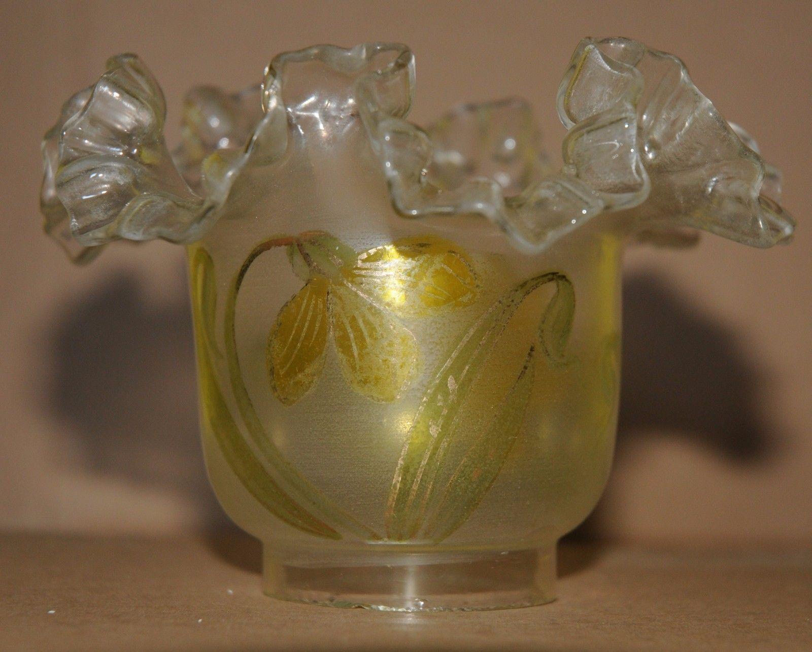 Ancienne Tulipe De Lampe A Petrole Decor Jonquille 2 Ebay
