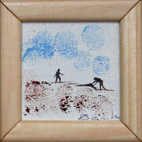 Building sand castles, miniature oil painting on canvas 8x8 cm framed and ready to hang