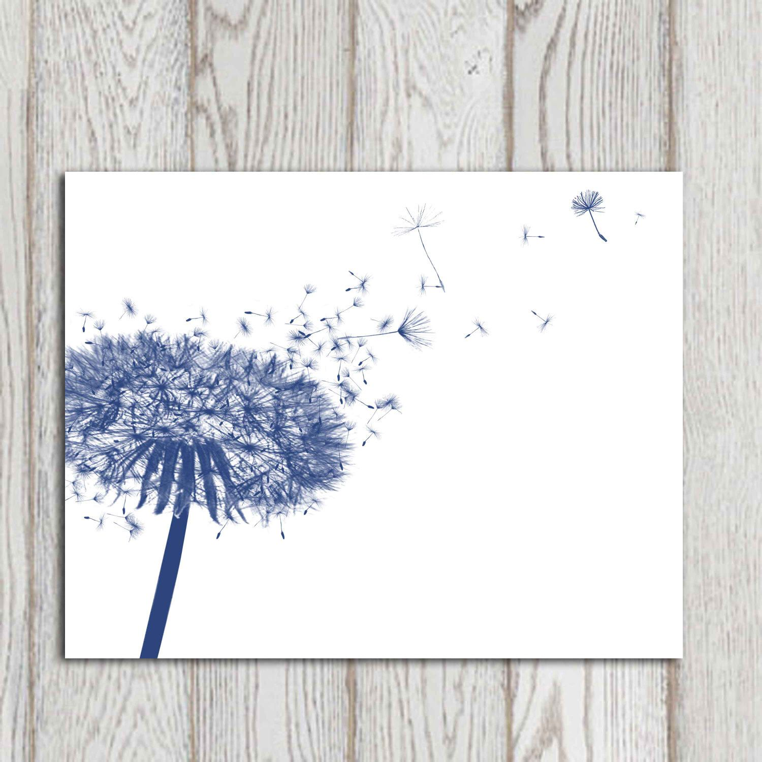 dandelion decor print navy blue home decor navy bedroom decor