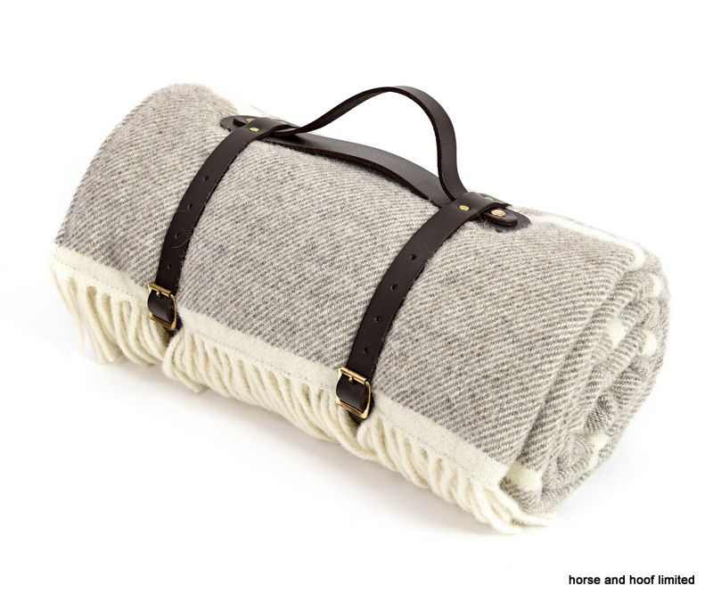 Tweedmill Polo Pure New Lambswool Picnic Rug With Waterproof Backing Broad Stripe Peppery Grey Brown