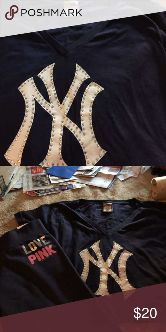 Cropped NY Yankees T-shirt New York Yankees with Rhinestones NWOT Victoria's Secret Tops Crop Tops