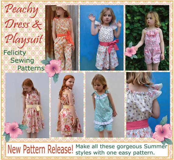 Girl\'s sewing pattern The Peachy Dress & Playsuit , pattern includes ...