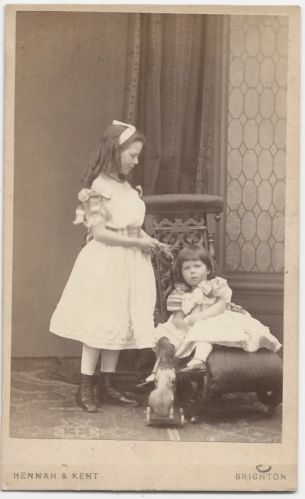 Carte De Visite 1860s Outstanding Composition 2 Beautiful Girls ID Consula Ursula Baring UK