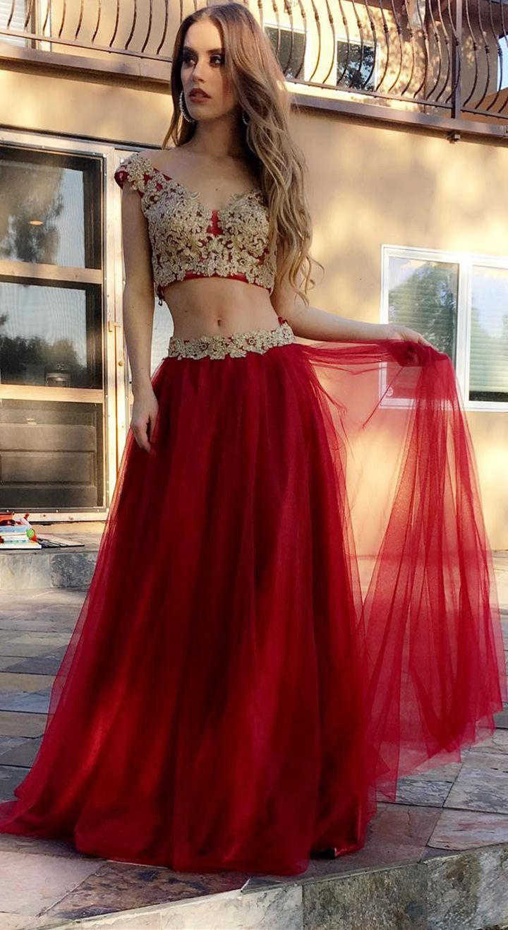 Two peice prom dressesgold lace appliqued red tulle long formal