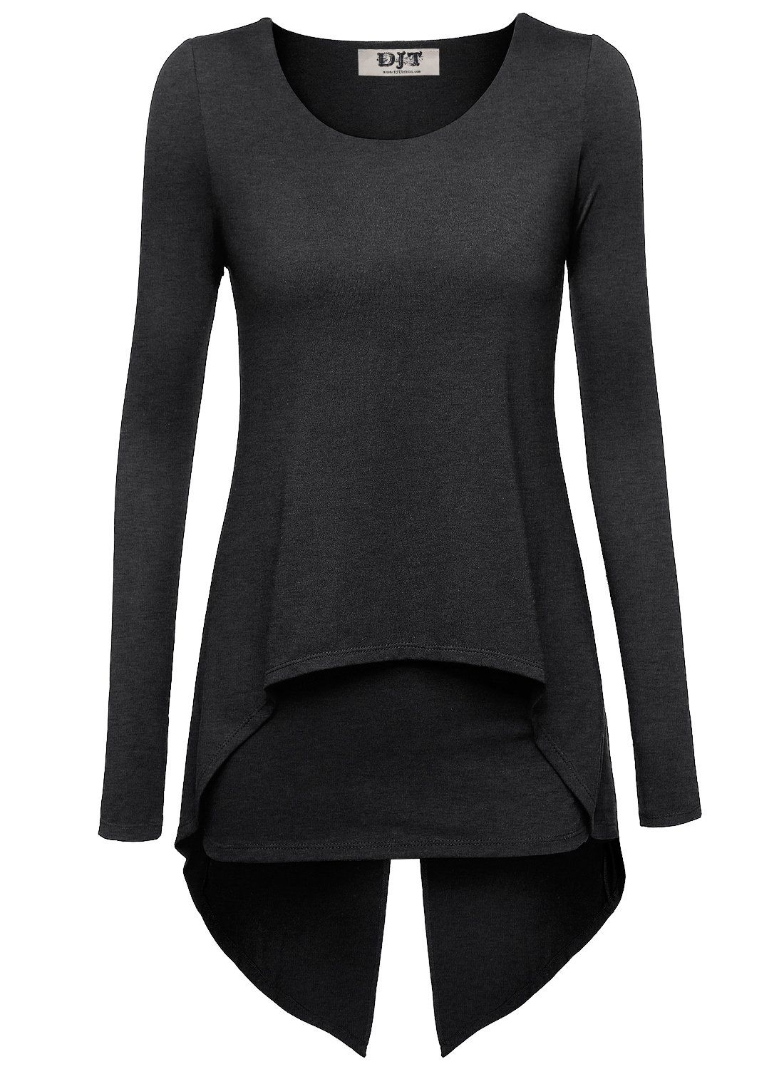 49922fddc7 DJT Women Long Sleeve Round Neck Layered Irregular Hem Tunic Tops T-shirt  Blouse Dark Grey X-Large
