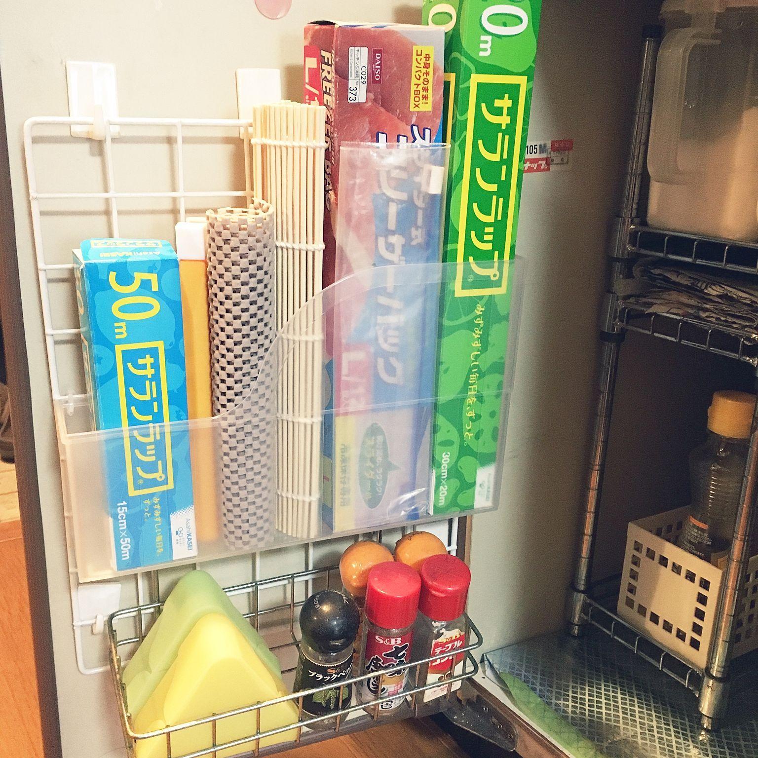 キッチン 粘着フック ワイヤーネット 扉裏収納 100均 などのインテリア実例 2017 01 05 16 16 50 Roomclip ルームクリップ 台所収納アイデア 家の整理整頓