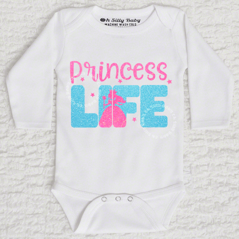 44297aaf1 Princess Life Glitter Baby Bodysuit or Tee Oh Silly Baby. Customize,  handmade and tagless. Available in long sleeve and short sleeve.