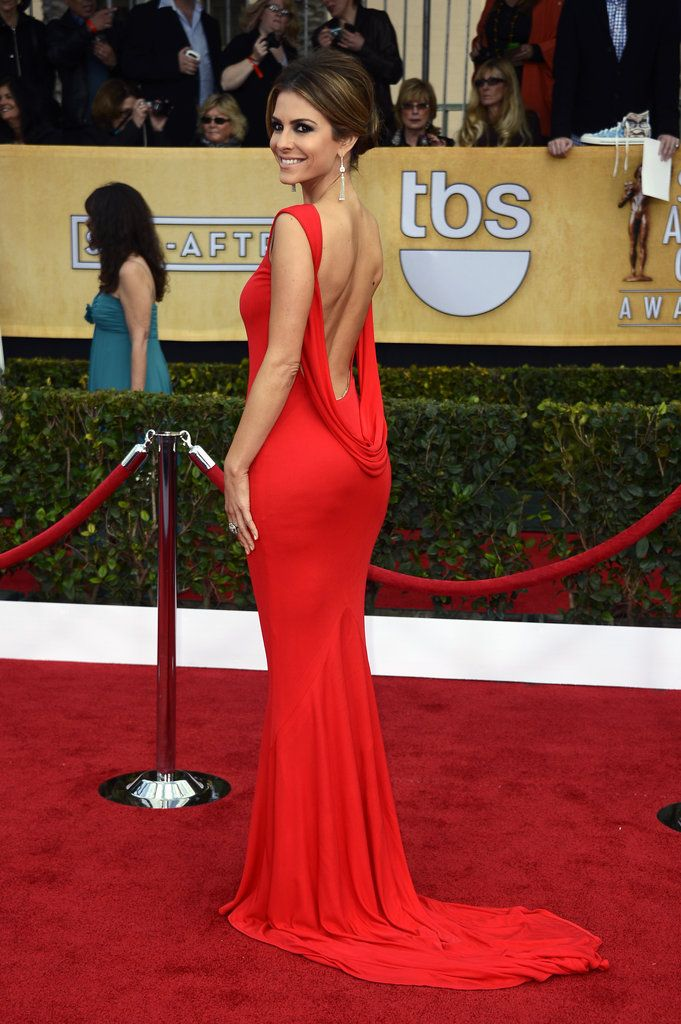 Maria Menounos brought sexy back in a fiery red gown and diamond drop  earrings.  SAGAwards 5b4f32f04e8d