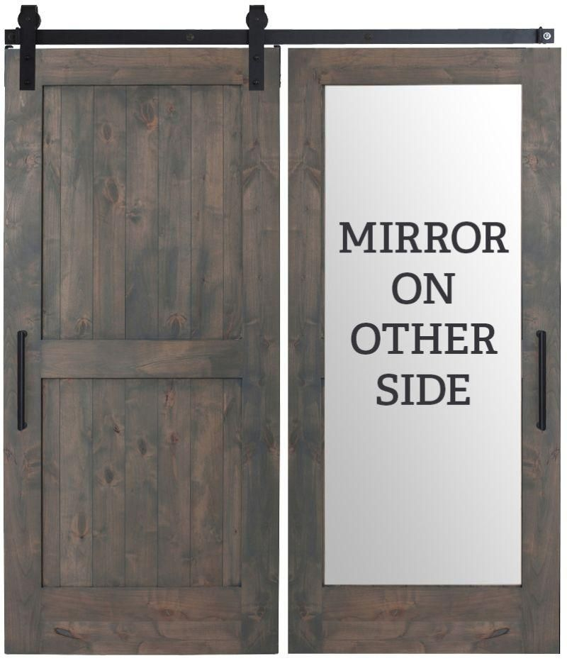 Custom Made Two Panel Framed Rustic Farmhouse With Back Side Mirror Sliding Barn Door In 2020 Mirror Barn Door Bathroom Barn Door Farmhouse Doors